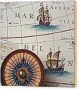 Compass And Old Map With Ships Wood Print