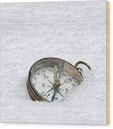 Compass In Snow Wood Print