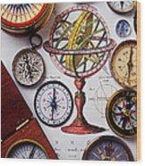 Compasses And Globe Illustration Wood Print