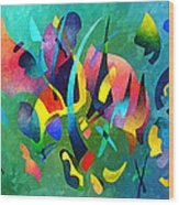 Composition In Blue And Green Wood Print