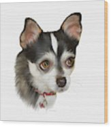 Computer Generated Portrait Of A Dog Wood Print