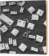 Computer Keys Wood Print