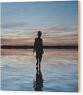 Concept Image Of Young Boy Walking On Water In Sunset Landscape Digital Painting Wood Print by Matthew Gibson