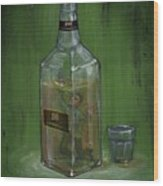 Conceptual Illustration Of Man Drowning In Alcohol Bottle Wood Print