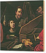 Concert With Musicians And Singers, C.1625 Oil On Canvas Wood Print