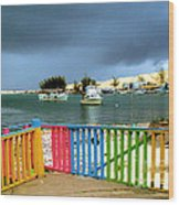 Conch Boats Arriving Wood Print