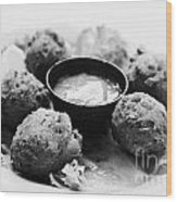 Conch Fritters With Sauce Served In A Restaurant Cafe In Key West Florida Usa Wood Print by Joe Fox