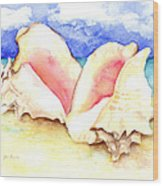 Conch Shells On Beach Wood Print