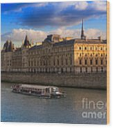 Conciergerie And The Seine River Paris Wood Print