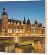 Conciergerie Twilight - River Seine Wood Print