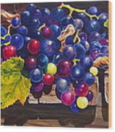 Concord Grapes On A Step Wood Print by Sarah Luginbill