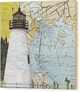 Concord Pt Lighthouse Md Nautical Chart Map Art Cathy Peek Wood Print