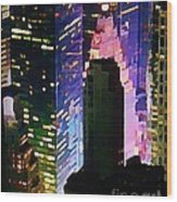Concrete Canyons Of Manhattan At Night  Wood Print