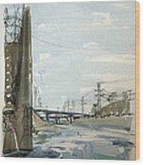 Concrete Los Angeles River Wood Print