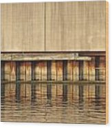 Concrete Wall And Water 1 Wood Print