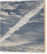 Condensation Trails - Contrails - Airplane Wood Print