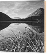 Cone Shaped Mountain Reflected In Lake At Sunset Wood Print