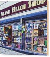 Coney Island Beach Shop Wood Print