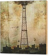Coney Island Eiffel Tower Wood Print