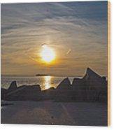 Coney Island Rocky Sunset Wood Print