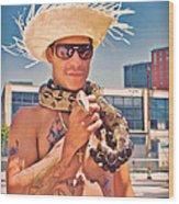 Coney Island Snake Man Wood Print