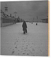 Coney Island Winter Wood Print