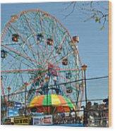 Coney Island Wonder Wheel Wood Print