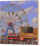 Coney Island Wonder Wheel Wood Print