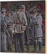 Confederate Civil War Reenactors With Rebel Confederate Flag Wood Print