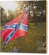 Confederate Flag In An Old Cemetery Wood Print