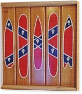 Confederate Flag Surfboards And Skulls Hand Painted By Mark Lemmon Wood Print