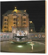 Confederation Fountain In Victoria Bc With Code Of Arms Wood Print