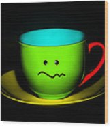 Confused Colorful Cup And Saucer Wood Print