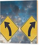 Confusing Road Signs Wood Print
