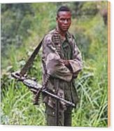 Congolese Soldier Standing Guard Wood Print