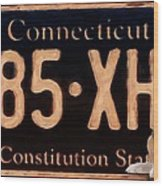 Connecticut License Plate Wood Print