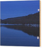 Connecticut River Moon Wood Print