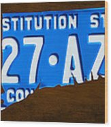 Connecticut State License Plate Map Wood Print
