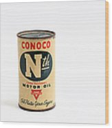 Conoco Motor Oil Piggy Bank - Antique - Tin Wood Print by Andee Design