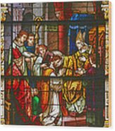 Consecration Of St Augustine Stained Glass Window Wood Print