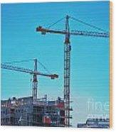 construction cranes HDR Wood Print