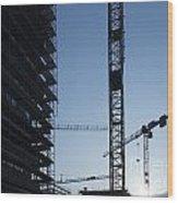Construction Cranes In Backlit Wood Print