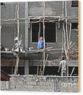 Construction Crew In Laos Wood Print