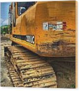 Construction Excavator In Hdr 1 Wood Print