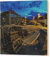 Construction Site At Night Wood Print