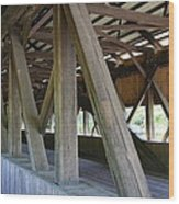 Construction Under The Roof - Jackson Covered Bridge Nh Wood Print