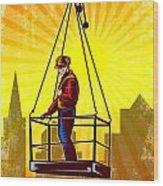 Construction Worker Platform Retro Poster Wood Print