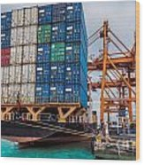 Container Cargo Freight Ship With Working Crane Loading Wood Print