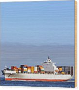 Container Ship At Sea Wood Print