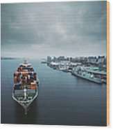 Container Ship In Halifax Harbour Wood Print